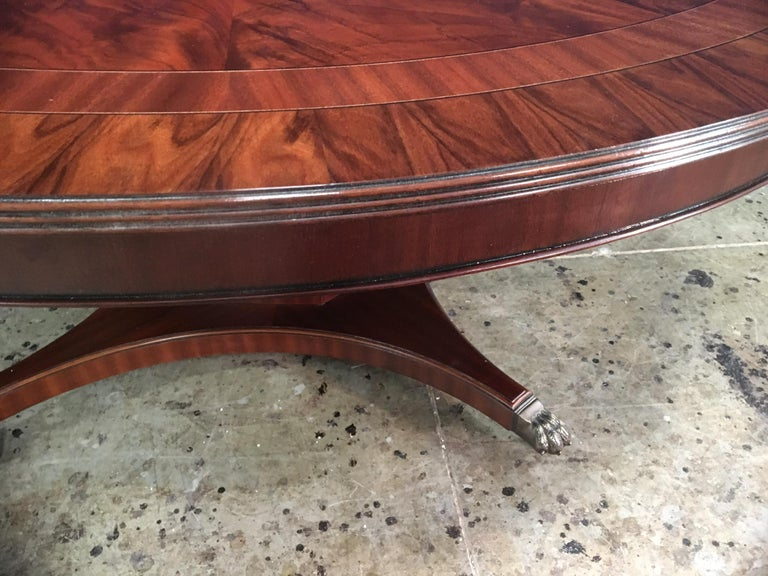Custom Round Mahogany Transitional Dining Table by Leighton Hall For Sale 2