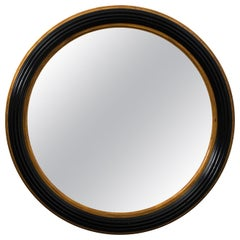 Custom Round Black Mahogany Gold Gilded Mirror