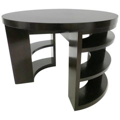 Custom Round Center Table with Open Shelf Legs