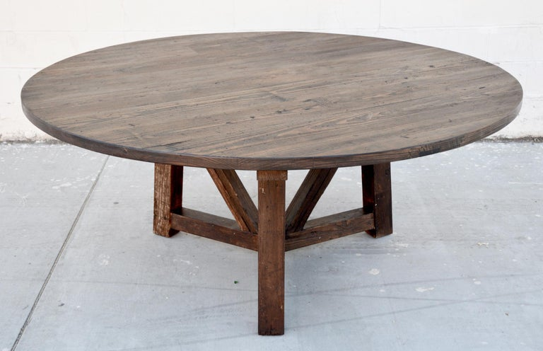 Custom Round Dining Table In Reclaimed, Antique Round Kitchen Table