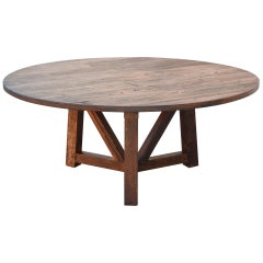 Custom Round Dining Table in Reclaimed Pine, Built to Order by Petersen Antiques