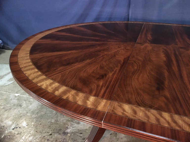 Custom Round Mahogany Regency Style Dining Table by Leighton Hall For Sale 5
