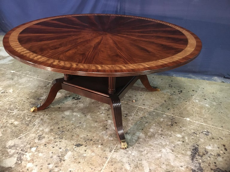 Custom Round Mahogany Regency Style Dining Table by Leighton Hall For Sale 6