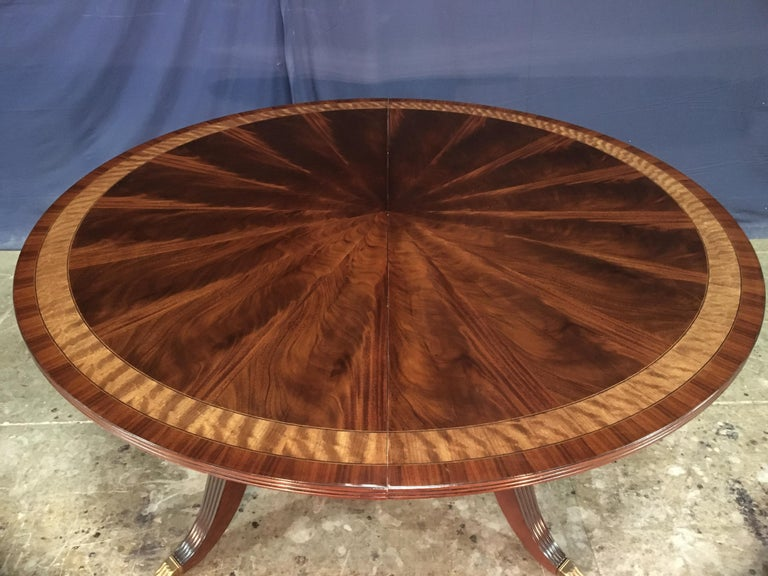 Custom Round Mahogany Regency Style Dining Table by Leighton Hall For Sale 7
