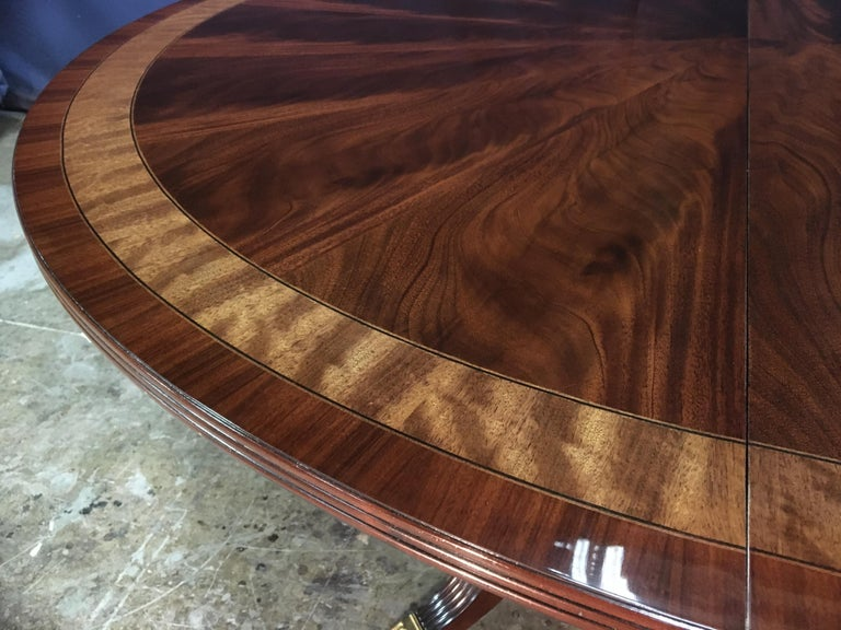 American Custom Round Mahogany Regency Style Dining Table by Leighton Hall For Sale