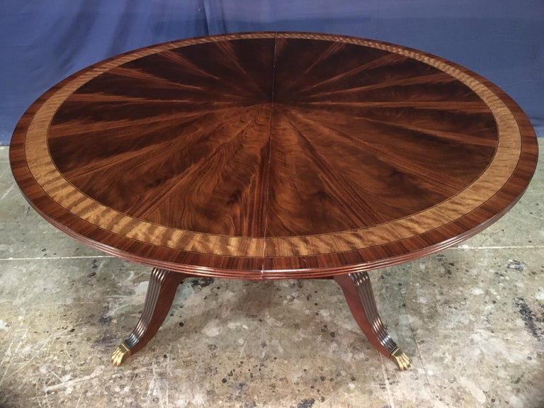 Contemporary Custom Round Mahogany Regency Style Dining Table by Leighton Hall For Sale
