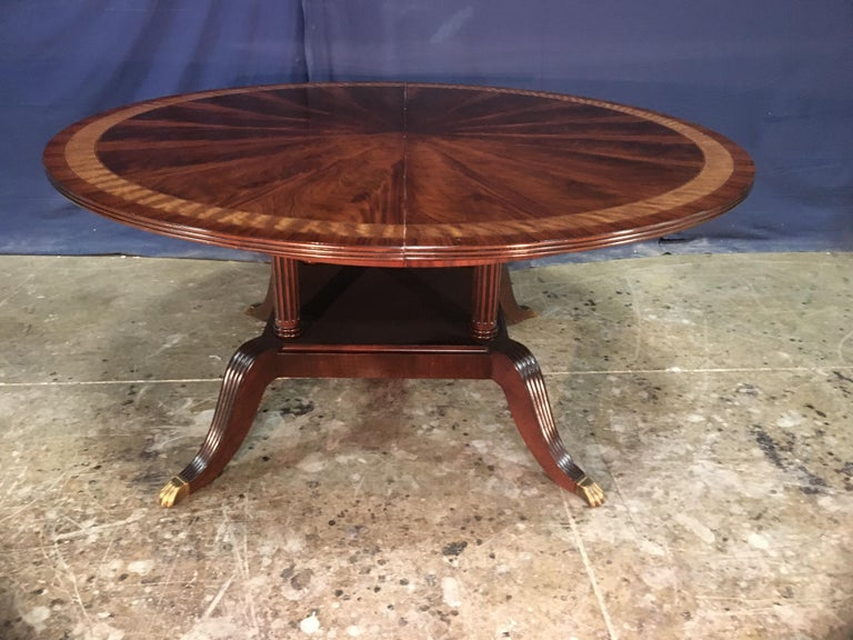 Custom Round Mahogany Regency Style Dining Table by Leighton Hall For Sale 1