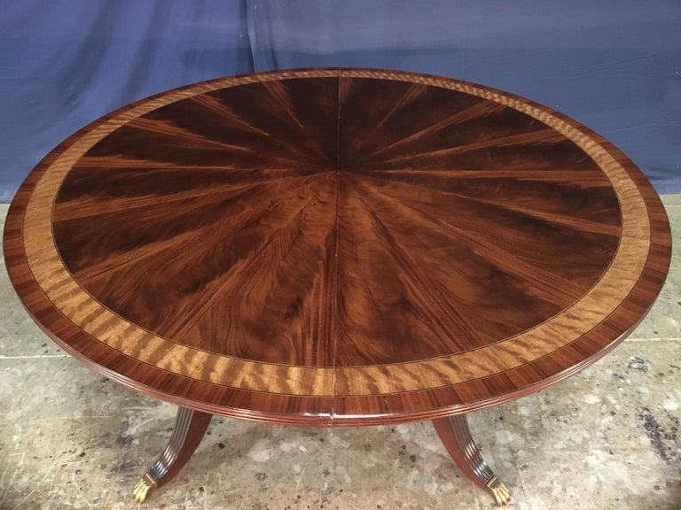 Custom Round Mahogany Regency Style Dining Table by Leighton Hall For Sale 2