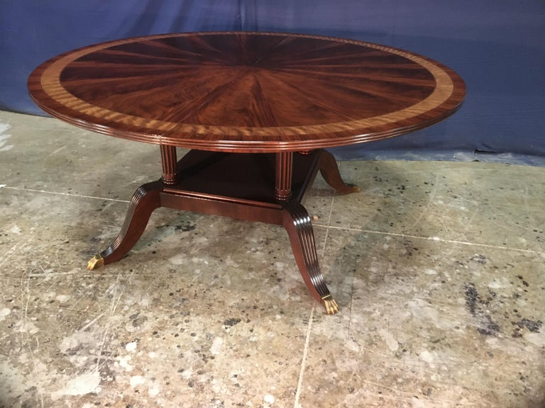 Custom Round Mahogany Regency Style Dining Table by Leighton Hall For Sale 3