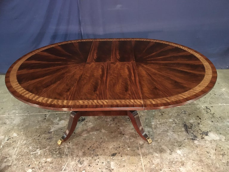 Custom Round Mahogany Regency Style Dining Table by Leighton Hall For Sale 4
