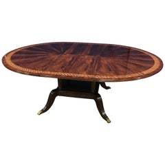 Custom Round Mahogany Regency Style Dining Table by Leighton Hall