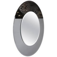 Large Round Beveled Mirror with Smoke Glass Border