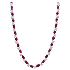 Custom Ruby and Diamond Necklace in 18 Karat White Gold