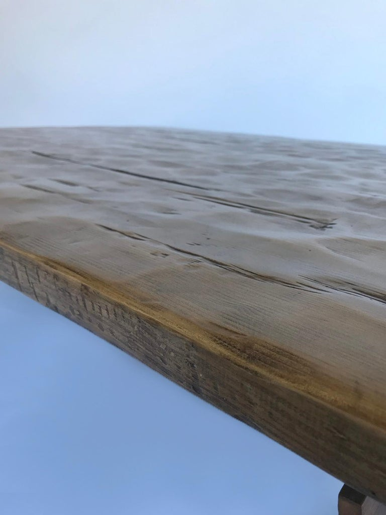 Custom Rustic Coffee Table with Hand Hewn Top For Sale 3