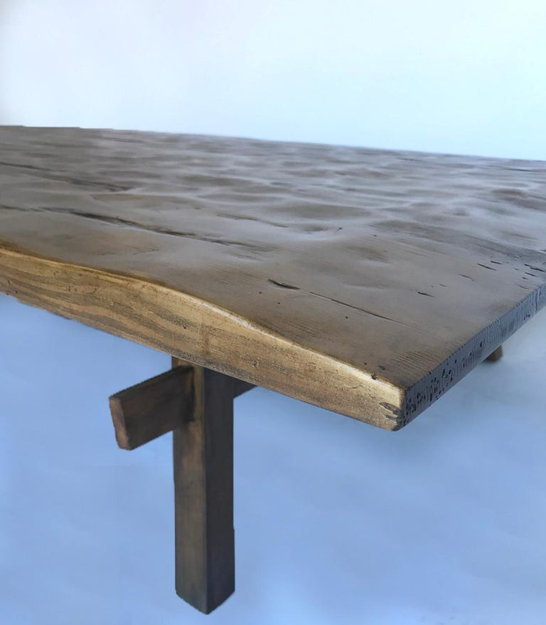 Custom Rustic Coffee Table with Hand Hewn Top For Sale 4