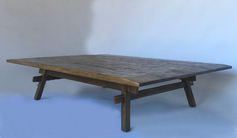 American Custom Rustic Coffee Table with Hand Hewn Top For Sale
