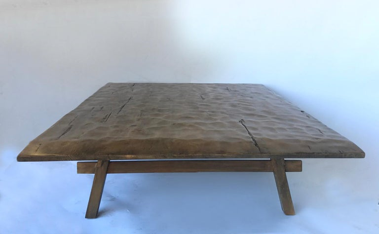 Custom Rustic Coffee Table with Hand Hewn Top In New Condition For Sale In Los Angeles, CA
