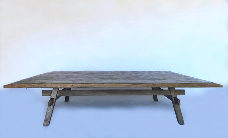 Contemporary Custom Rustic Coffee Table with Hand Hewn Top For Sale