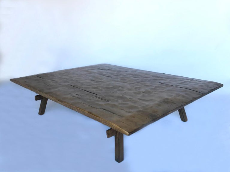 Wood Custom Rustic Coffee Table with Hand Hewn Top For Sale