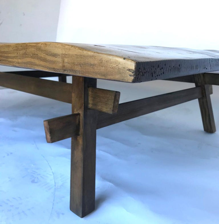 Custom Rustic Coffee Table with Hand Hewn Top For Sale 1