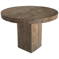 Custom Rustic Modern Round Table with Square Base