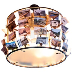 Custom Rustic Post Card and Steel Chandelier with Steel/Glass Frame/Edison Bulb