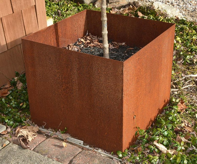 American Custom Rustic Rusted Metal Planters For Sale