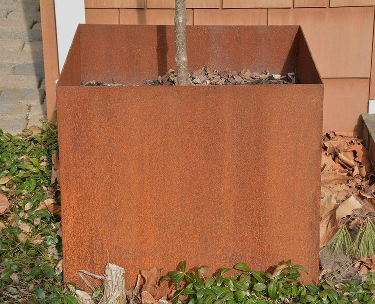 Hand-Crafted Custom Rustic Rusted Metal Planters For Sale