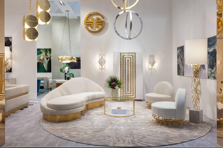 Custom Satine Sofa, COM with Gold Leafed Faceted Base For Sale 3