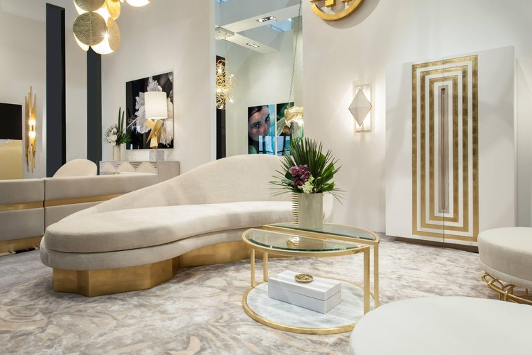 Custom Satine Sofa, COM with Gold Leafed Faceted Base For Sale 4