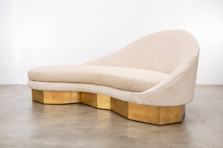 American Custom Satine Sofa, COM with Gold Leafed Faceted Base For Sale