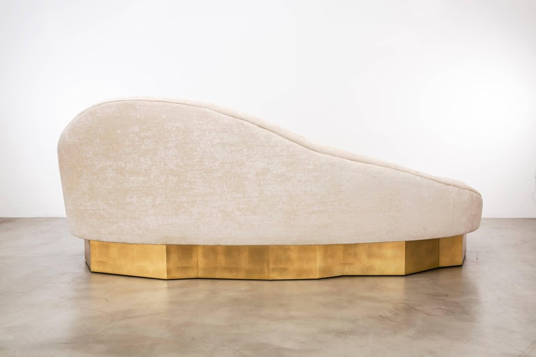 Custom Satine Sofa, COM with Gold Leafed Faceted Base In New Condition For Sale In Laguna Niguel, CA