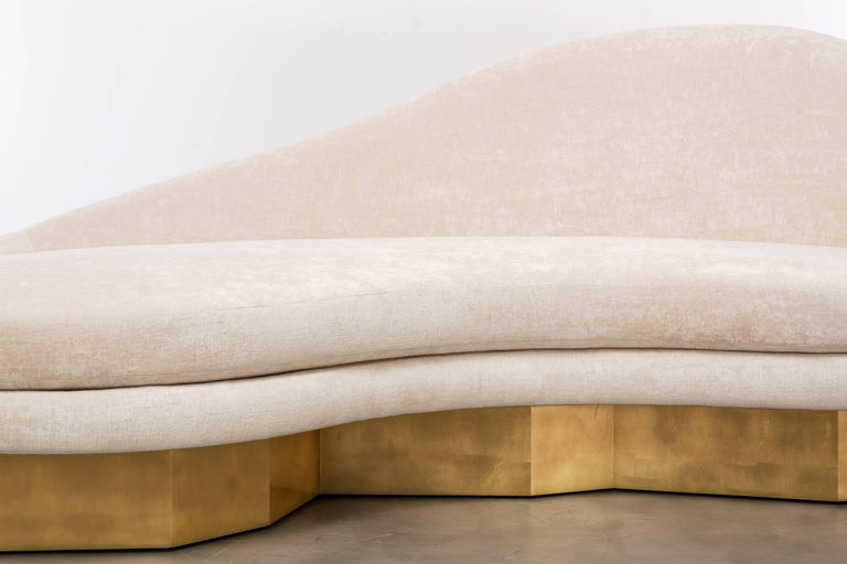 Contemporary Custom Satine Sofa, COM with Gold Leafed Faceted Base For Sale
