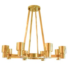 Custom Sculptural Brass Chandelier with Eight Arms