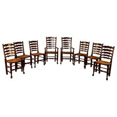 Custom Set of Eight Ladder Back Chairs