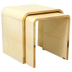 Custom Set of Parchment Nesting Tables with Bronze Banding in the JMF Manner