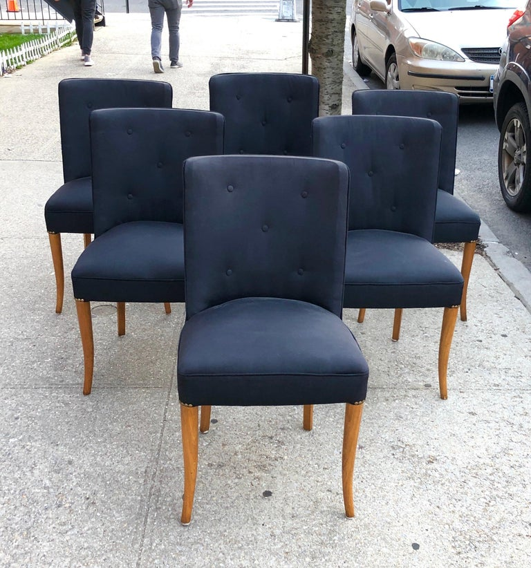 American Custom Set of Six Dining Chairs by Robsjohn-Gibbings For Sale