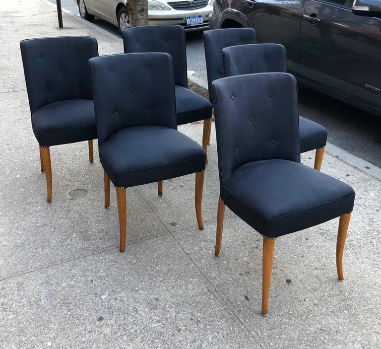 Custom Set of Six Dining Chairs by Robsjohn-Gibbings In Good Condition For Sale In Hudson, NY