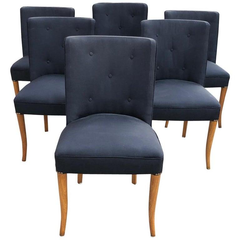 Custom Set of Six Dining Chairs by Robsjohn-Gibbings For Sale