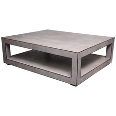 Custom Genuine Light Gray Shagreen Cocktail Table