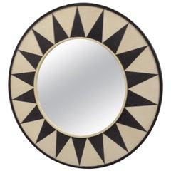 Custom Shagreen Mirror with Sunburst Pattern