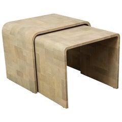 Custom Shagreen Patchwork Nesting Tables