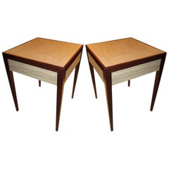 Custom Shagreen-Top Tables with Central Drawer in the Jean-Michel Frank Manner