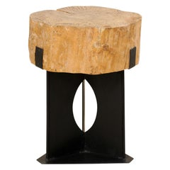 Custom Side/Drinks Table with European Chopping Block Top & Iron Base