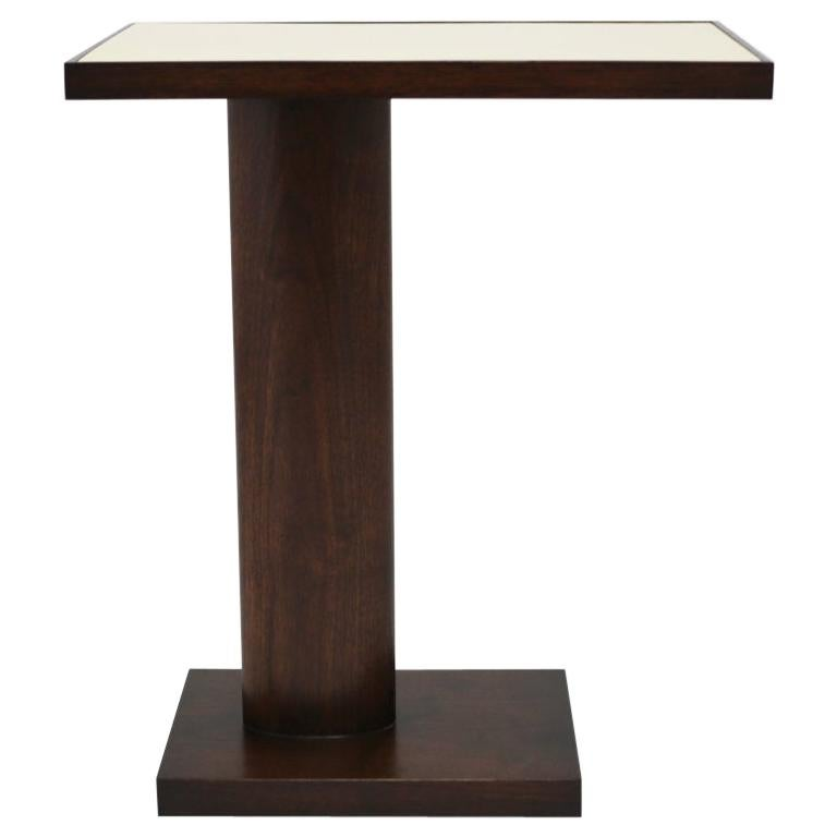 Custom Side Table in Mahogany with Upholstered and Lacquered Top For Sale