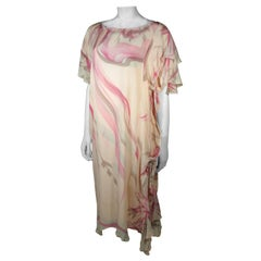 Custom Silk Abstract Print Creamy Peach Shift Dress