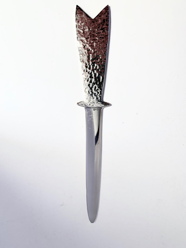 20th Century Custom Silver Plated Hammered Letter Opener For Sale