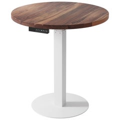"Custom Sit/Stand ""Essentials Bistro Table"", Solid Wood Top and Metal Base, Large"