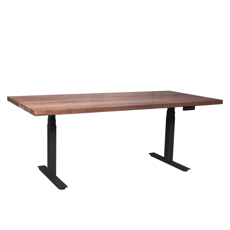 """Custom Sit/Stand """"Essentials Desk"""" with Solid Wood Top and Metal Base, Small For Sale"""
