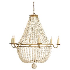 Custom Six-Light Polished Branch Coral Beaded Chandelier